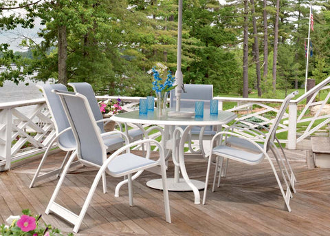 telescope furniture, telescope dining tables, outdoor tables, outdoor furniture, sling chairs, sling furniture