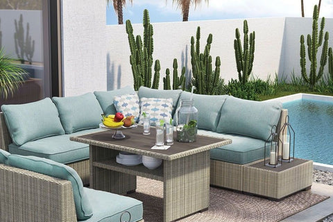 ashley furniture, shop ashley, silent brook outdoor sectional dining seating,