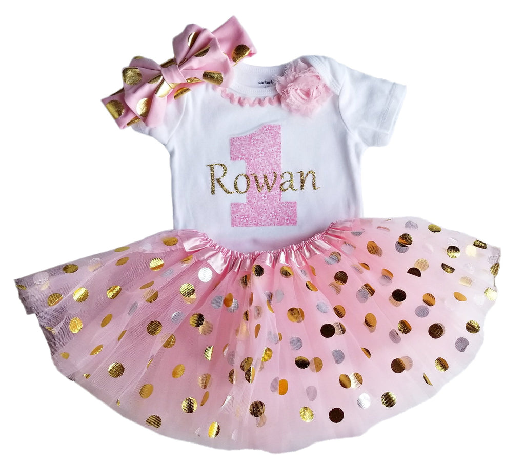 1st Birthday Girl Pink and Gold Dot Tutu Set (Personalized)