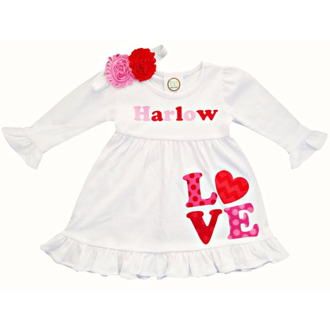 Valentine Personalized White Love Hearts Dress 12M-10
