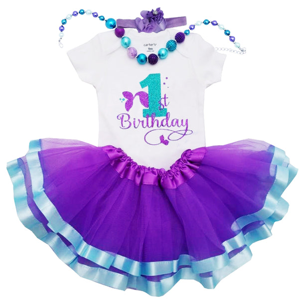 1st Birthday Girl Outfit - Mermaid Tail Tutu