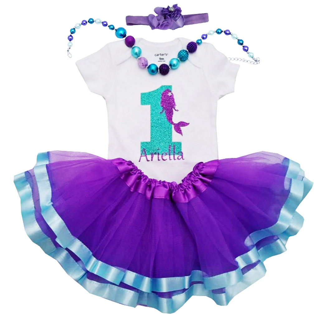 1st Birthday Girl Outfit - Mermaid Tutu (Personalized)