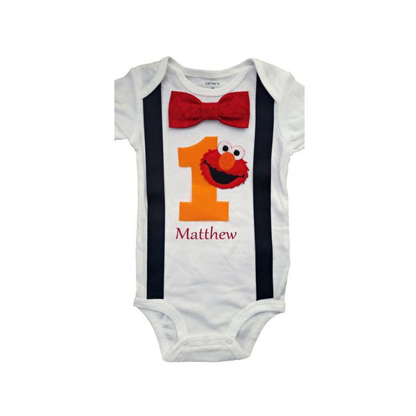 1st Birthday Baby Boys Outfit Elmo Bodysuit