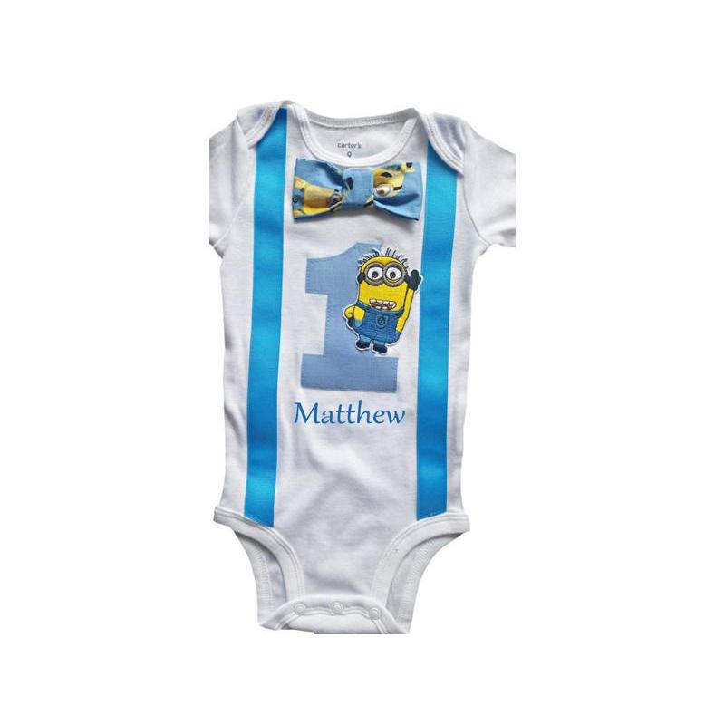 [CUSTOM] 1st Birthday Baby Boys Outfit Minions Bodysuit - 18M Long Sleeve - Yes