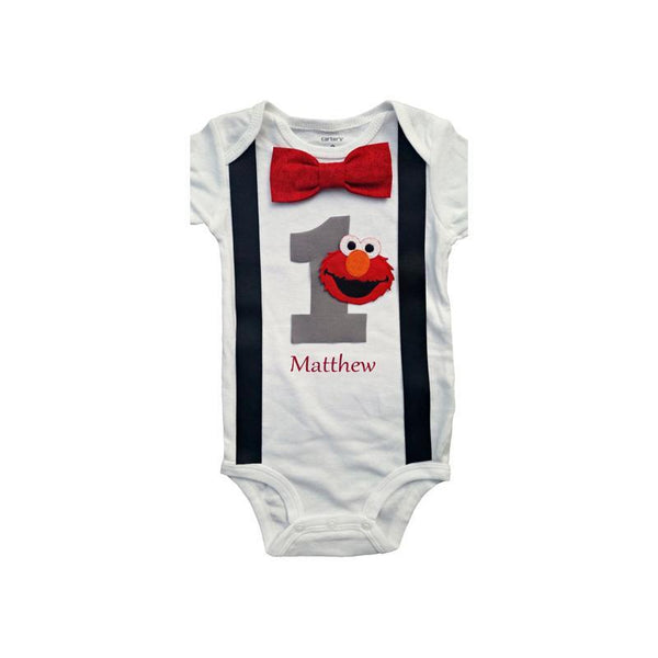 1st Birthday Outfit Baby Boys Elmo Bodysuit