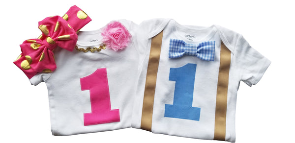 Boy Girl 1st Birthday Set Blue Gingham and Pink