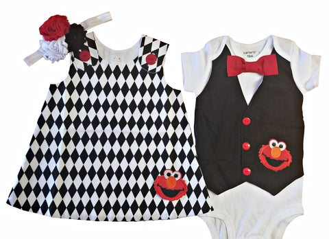 Twin Outfits Boy Girl Elmo Set