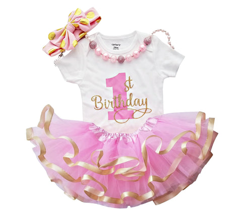 First Birthday Girl Outfit - Pink Gold Tutu Set and Necklace