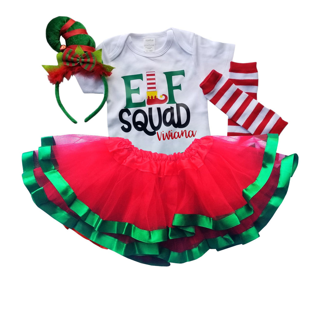 First Christmas Outfit Baby Girl Elf Squad Tutu Personalized