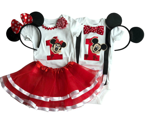 Boy Girl Twin Outfits 1st Birthday Mickey and Minnie TUTU With Shirt 18M Short