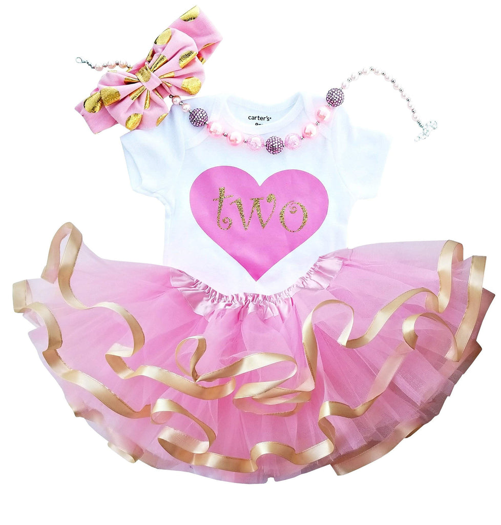2nd Birthday Girl - Pink Gold Heart Tutu
