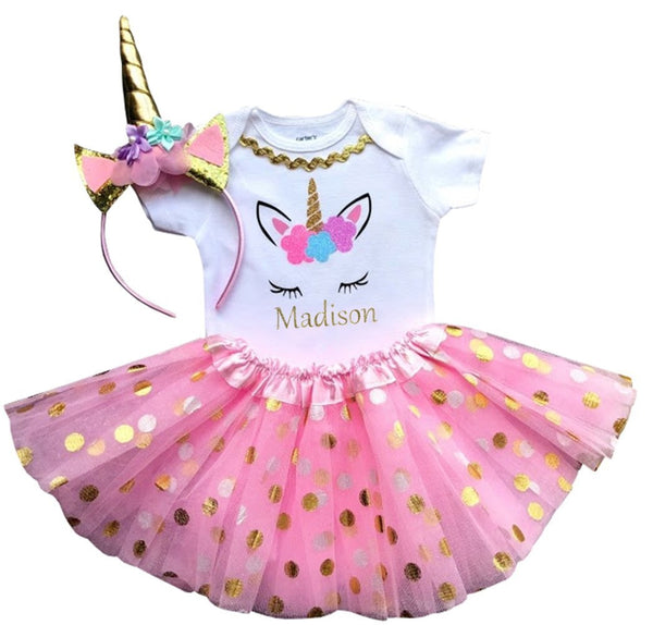 1st Birthday Girl - 3pc Pink and Gold Dot with Unicorn Headband and Matching Tutu (Personalized)