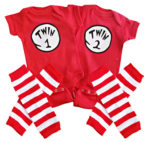 Boy Girl Unisex Twin Outfits Twin 1 Twin 2/Thing 1 Thing 2