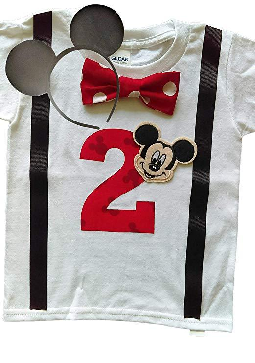 Boys 2nd Birthday Shirt Mickey Mouse  - Red Bow Tie