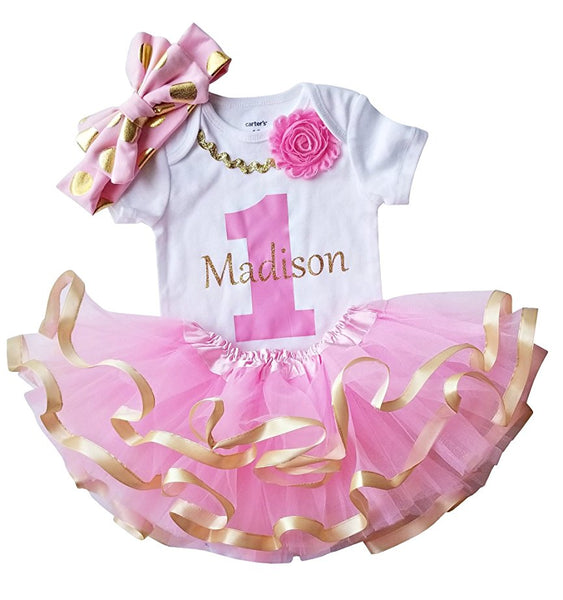 1st Birthday Girl - Pink Gold Personalized Outfit