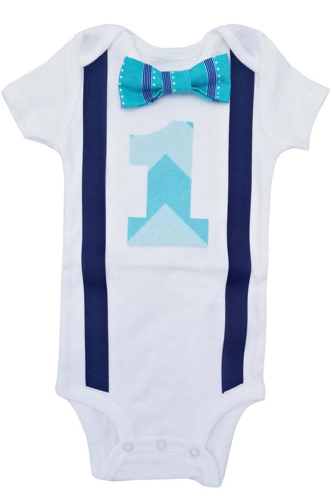 1st Birthday Baby Boys Outfit Tonal Turquoise