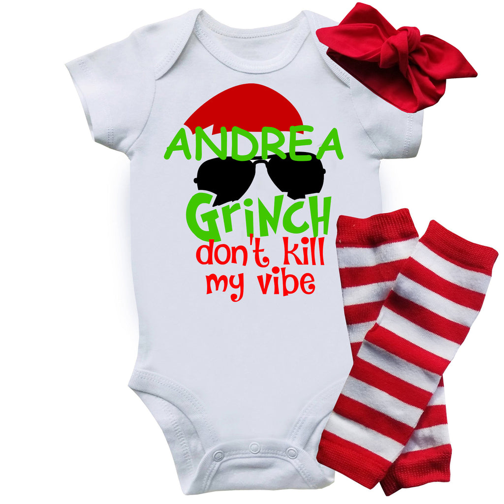Funny Onesie Christmas Set - Grinch Don't Kill My Vibe (Girl Version)