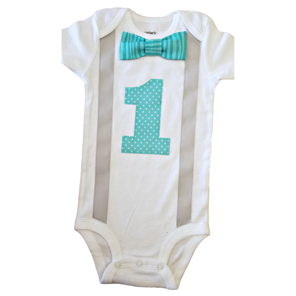 Baby Boys Outfit 1st Birthday Aqua Tonal Stripes Dots Bodysuit