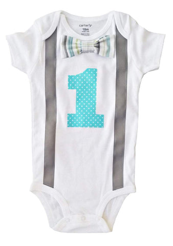 Baby Boys Outfit 1st Birthday Gray Aqua Stripes Dots Bodysuit