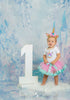 1st Birthday Girl - 3pc Pink & Green Satin with Unicorn Headband and Matching Tutu