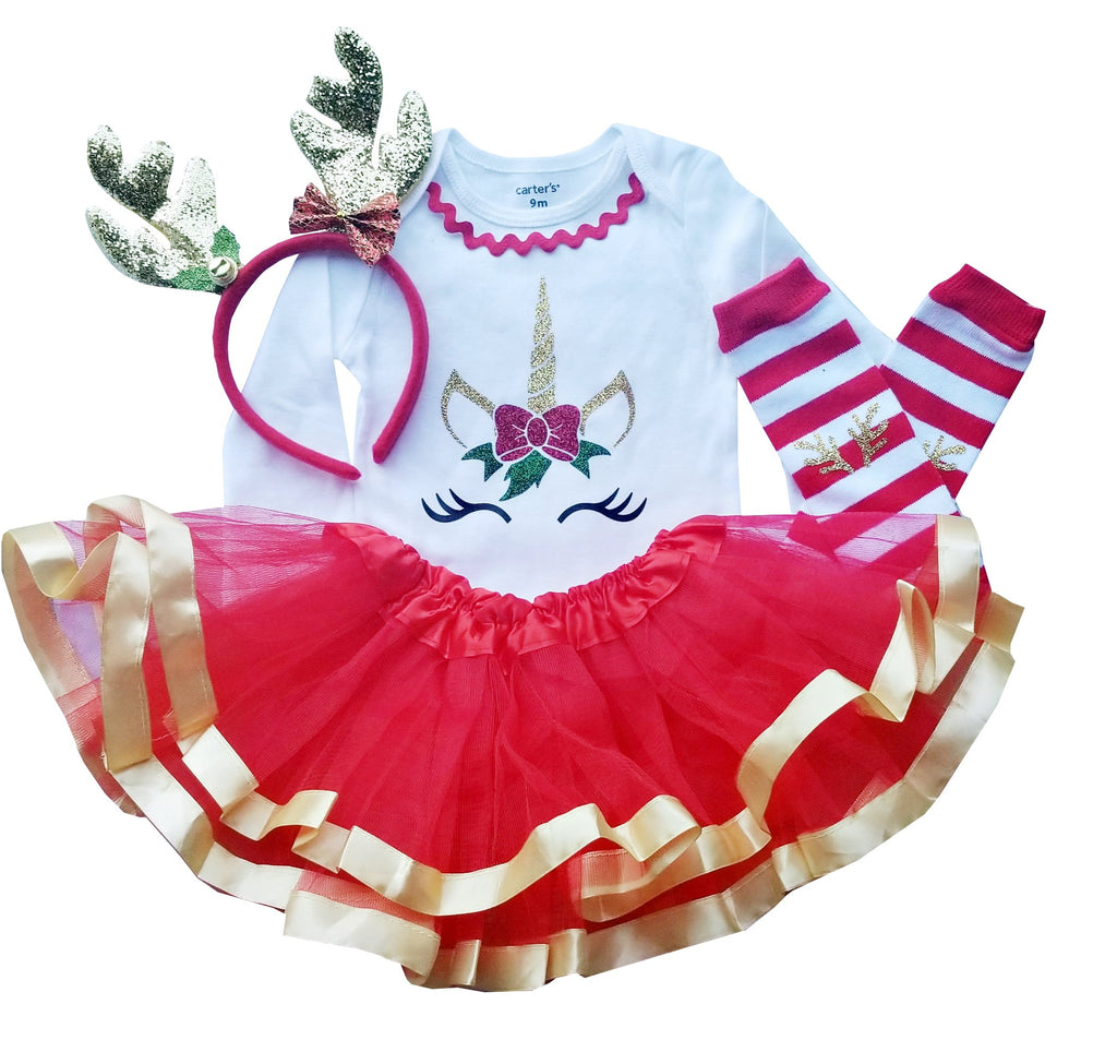 First Christmas Outfit Baby Girl Reindeer Tutu