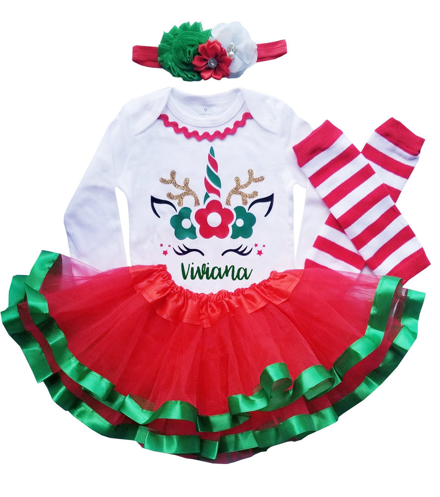 First Christmas Outfit Girl Unicorn Tutu Personalized