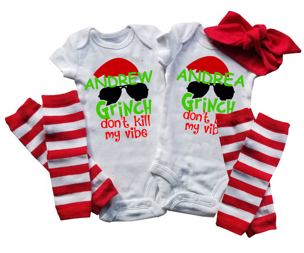 Boy Girl Twin Brother Sister Christmas Set - Grinch Don't Kill My Vibe