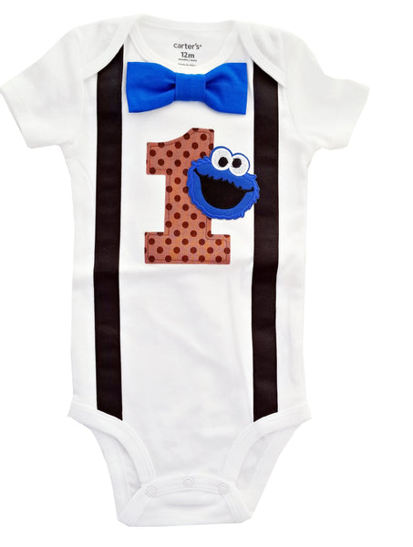 1st Birthday Baby Boys Cookie Monster Bodysuit