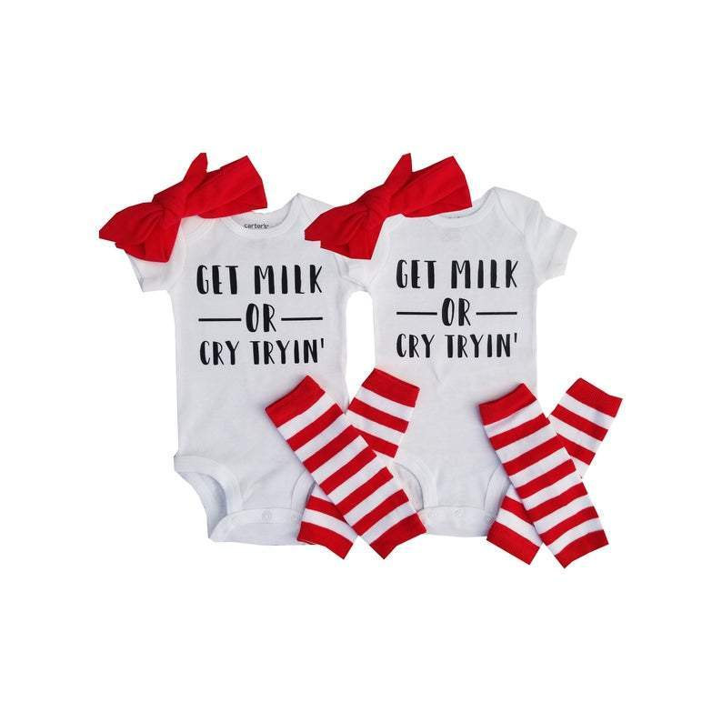 [CUSTOM] Girl Twin Funny Onesie - Get Milk or Cry Tryin - 3M Short Sleeve