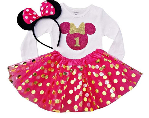 1st Birthday Girl - Hot Pink Minnie Tutu Set