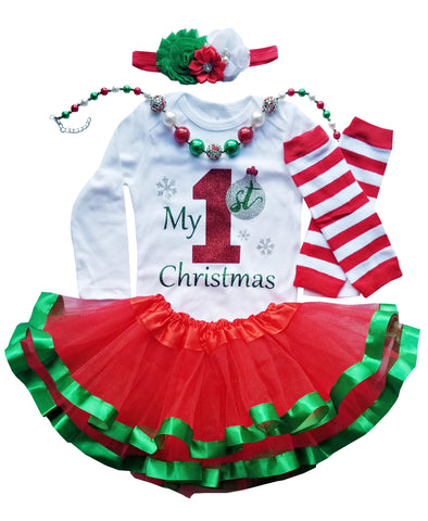 First Christmas Outfit Girl Tutu and Necklace Set