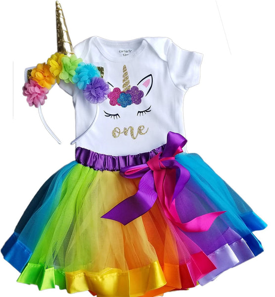 1st Birthday Girl - 3pc Rainbow with Unicorn Headband and Matching Tutu