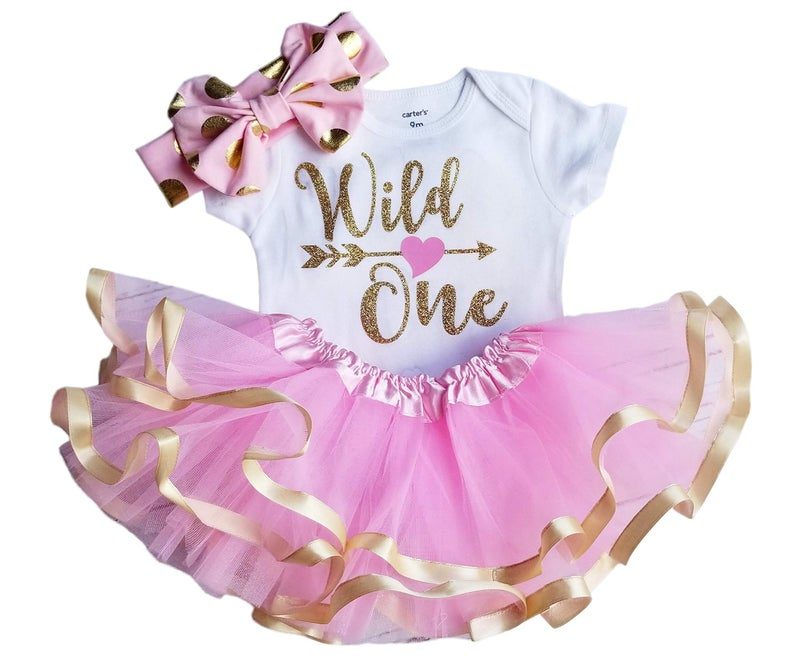 1st Birthday Girl Outfit - Wild One Pink Gold
