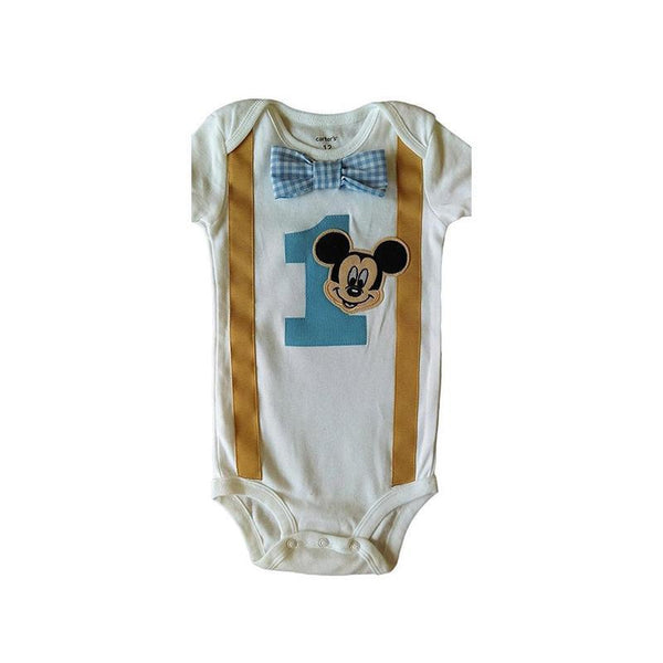 Baby Boys Outfit 1st Birthday Mickey Mouse Bodysuit Khaki White Blue