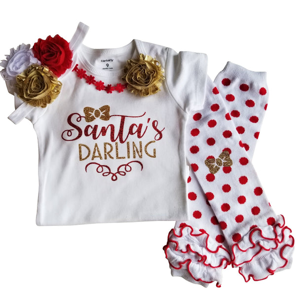 Baby Girl Christmas Outfit Santa's Darling