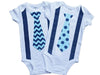 Baby Tie Onesie Twin Boys Navy Aqua Duo