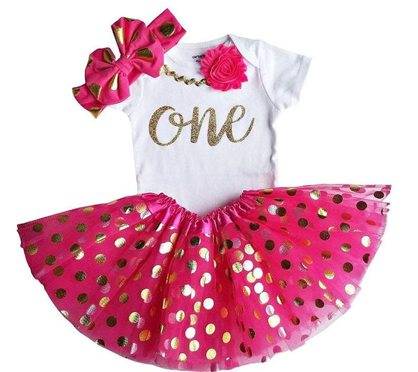 1st Birthday Girl Outfit - Hot Pink Gold One