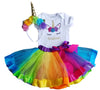 1st Birthday Girl - 3pc Rainbow with Unicorn Headband and Matching Tutu (Personalized)
