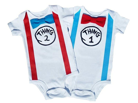 Birthday Bow Tie Onesies Seuss Thing 1 Thing 2