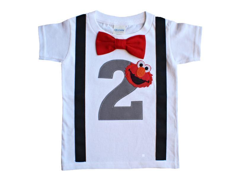 [CUSTOM] Boys 2nd Birthday Shirt Elmo Tee -Gray - 3T Short Sleeve - Yes