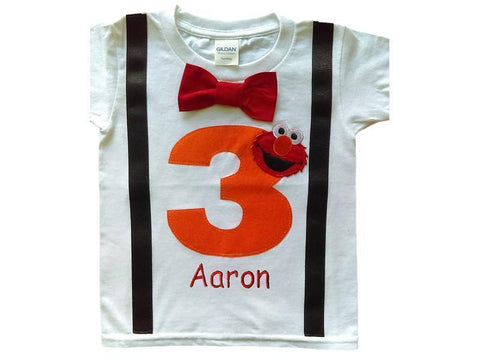 Boys 3rd Birthday Shirt Elmo Tee - Orange