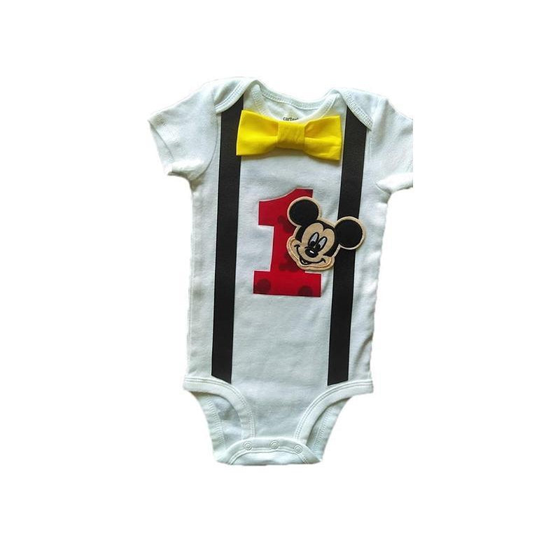Boys Outfit 1st Birthday Mickey Mouse Bodysuit White Black Red Yellow