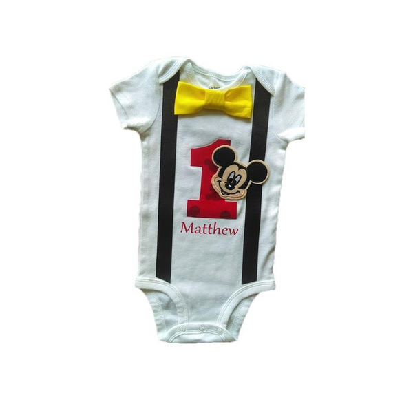 Boys Outfit 1st Birthday Mickey Mouse Bodysuit Yellow