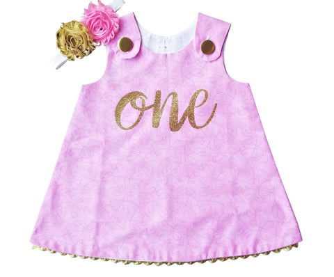 1st Birthday Girl Outfit - Pink Gold A-Line Dress