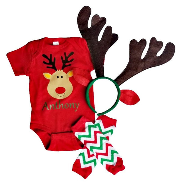 Christmas Baby Toddler Reindeer Outfit Personalized