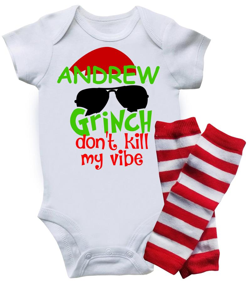 Funny Christmas Onesie - Grinch Don't Kill My Vibe