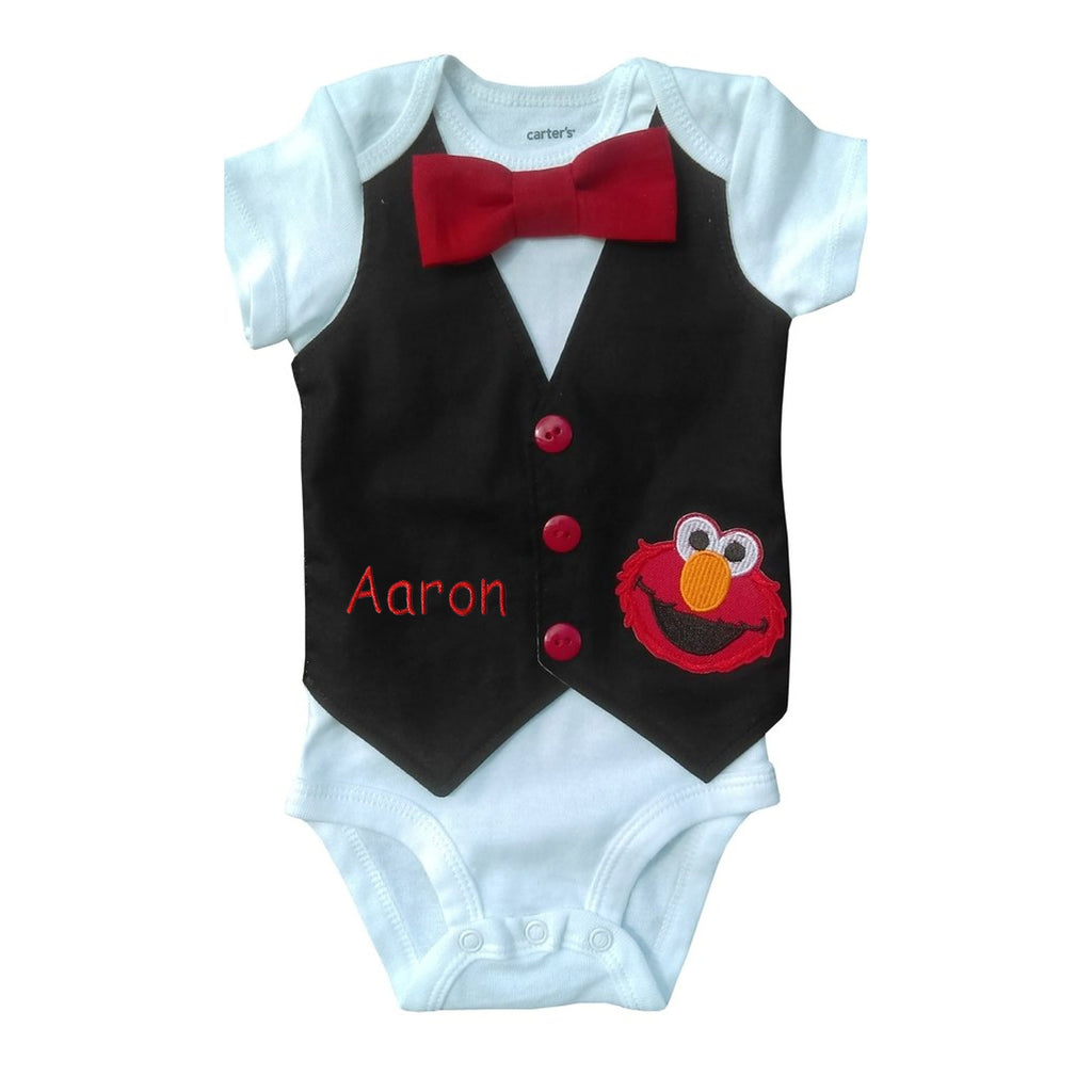 [CUSTOM] Baby Boy 1st Birthday Outfit Elmo Vest - 24M Short Sleeve - Yes