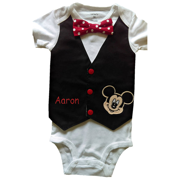 Baby Boy 1st Birthday Outfit Mickey Vest