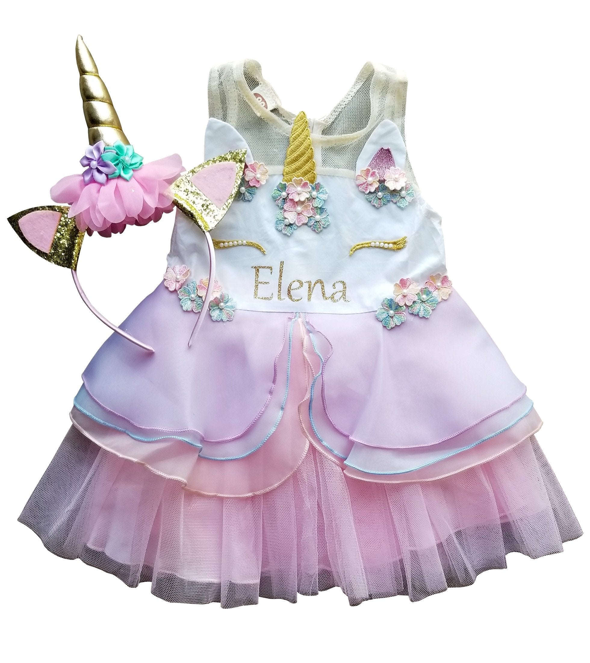 910eb7641 1st Birthday Girl - Unicorn Dress + Headband – LukeandLulu