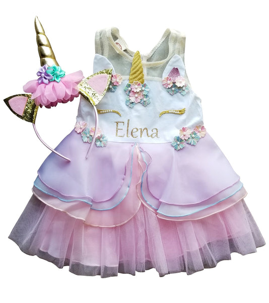 1st Birthday Girl - Unicorn Dress + Headband